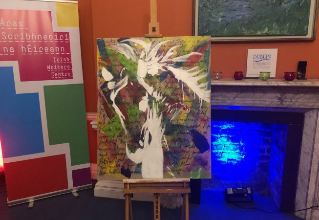 """""""White Horses"""" by Jo Burns, launched October, 2018, cover painting by artist Michael Burns"""