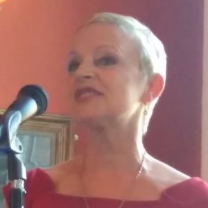 "Writer Liz McSkeane at the launch of her collection ""So Long, Calypso,"" in May, 2017."