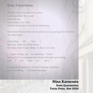 Poem from Quarantena by Nina Karacosta